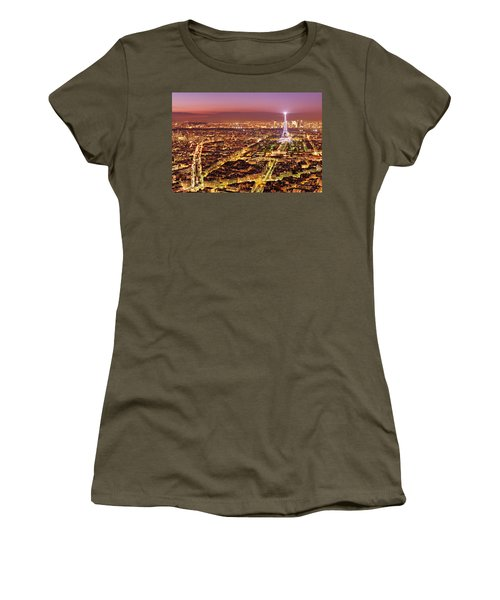 Women's T-Shirt featuring the photograph Paris Cityscape At Night / Paris by Barry O Carroll