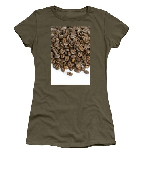 Women's T-Shirt (Junior Cut) featuring the photograph Roasted Coffee Beans by Lee Avison