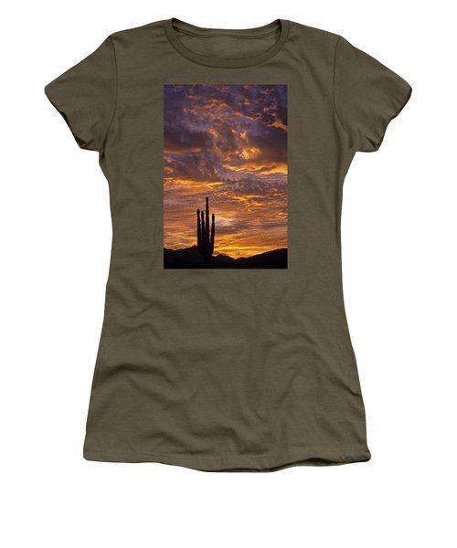 Silhouetted Saguaro Cactus Sunset At Dusk With Dramatic Clouds Women's T-Shirt (Athletic Fit)