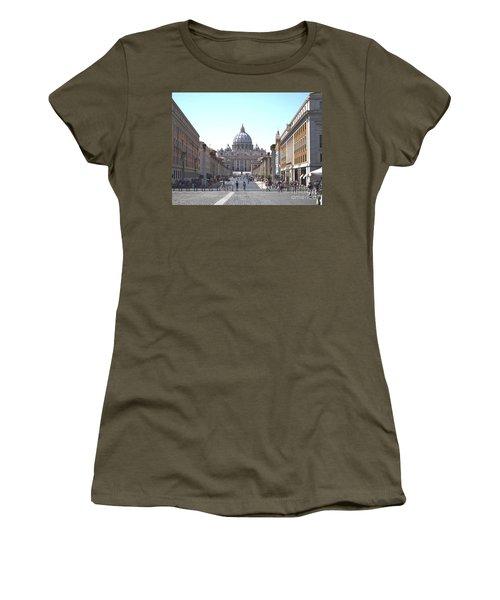 St Peter Basilica Viewed From Via Della Conciliazione. Rome Women's T-Shirt