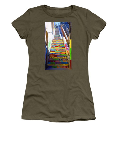 Stairway To Heaven Valparaiso  Chile Women's T-Shirt (Junior Cut) by Kurt Van Wagner