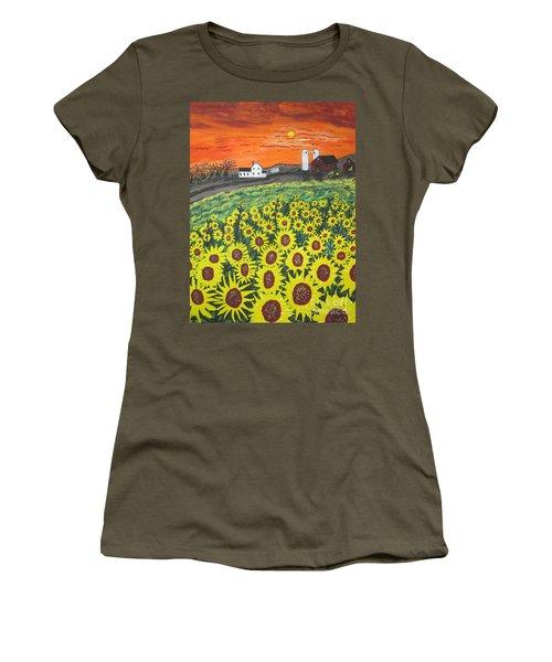 Sunflower Valley Farm Women's T-Shirt (Junior Cut) by Jeffrey Koss
