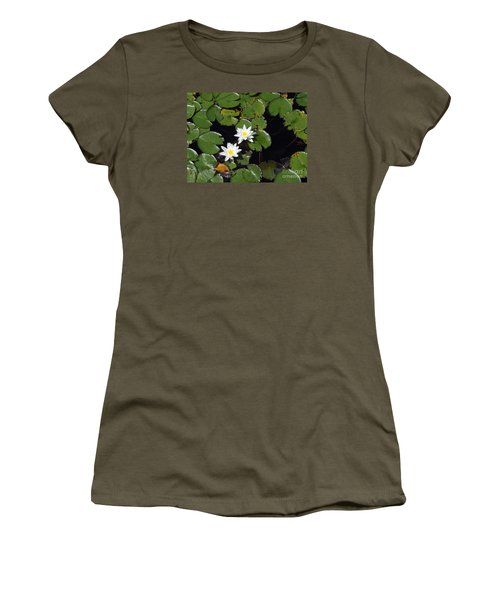 Women's T-Shirt (Junior Cut) featuring the photograph 2 Water Lily by Robert Nickologianis