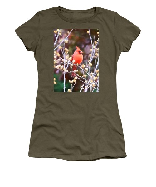 Women's T-Shirt (Junior Cut) featuring the photograph Cardinal by John Freidenberg
