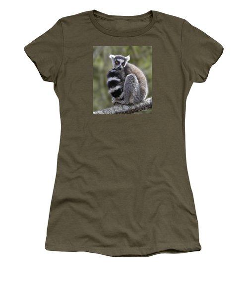 Ring-tailed Lemur Women's T-Shirt (Junior Cut) by Liz Leyden