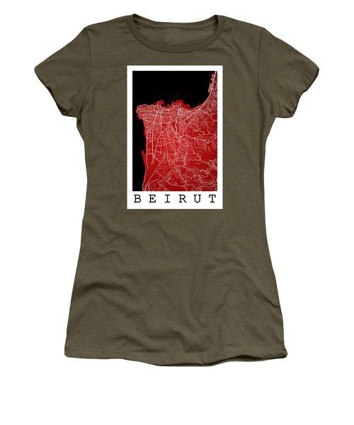 Beirut City Street Map - Beirut Lebanon Road Map Art On Color Women's T-Shirt