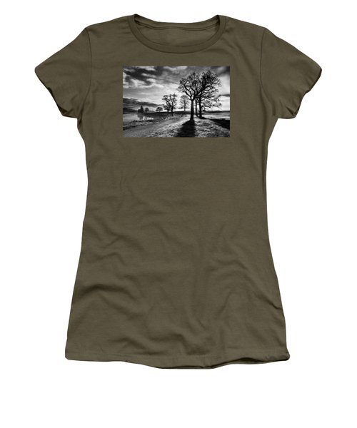 Women's T-Shirt featuring the photograph Winter Morning Shadows / Maynooth by Barry O Carroll