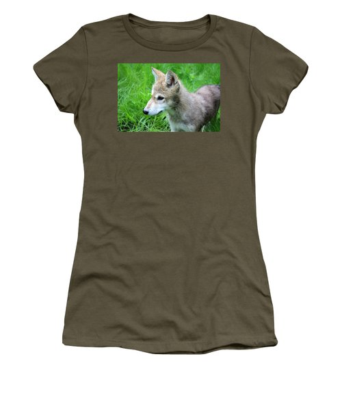 Gray Wolf Pup Women's T-Shirt (Athletic Fit)