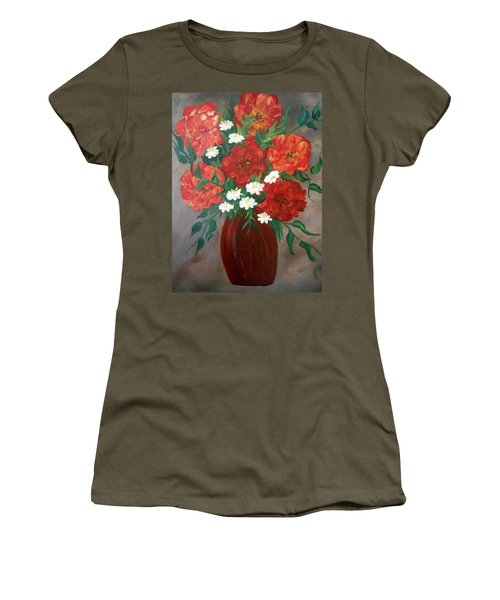 Women's T-Shirt featuring the painting 6 Flowers by Cynthia Amaral
