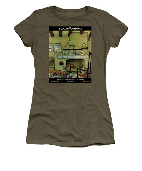 A 1920's Idea Of A Colonial Kitchen Women's T-Shirt