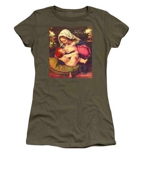 Women's T-Shirt (Junior Cut) featuring the digital art A Child Is Born by Lianne Schneider