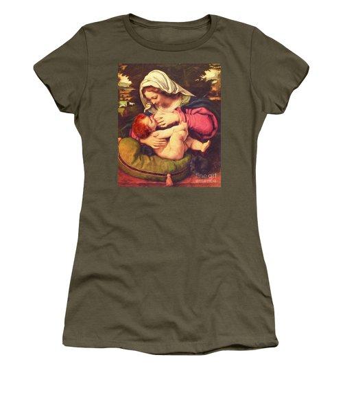 Women's T-Shirt (Junior Cut) featuring the digital art A Child Is Born No Text by Lianne Schneider