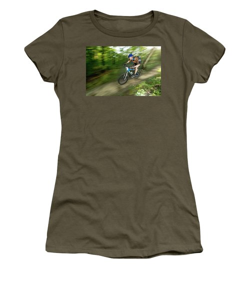 A Competitor Races Through The Woods Women's T-Shirt