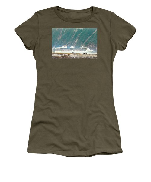 A Cruise Ship Passes By A Wolf Roaming Women's T-Shirt