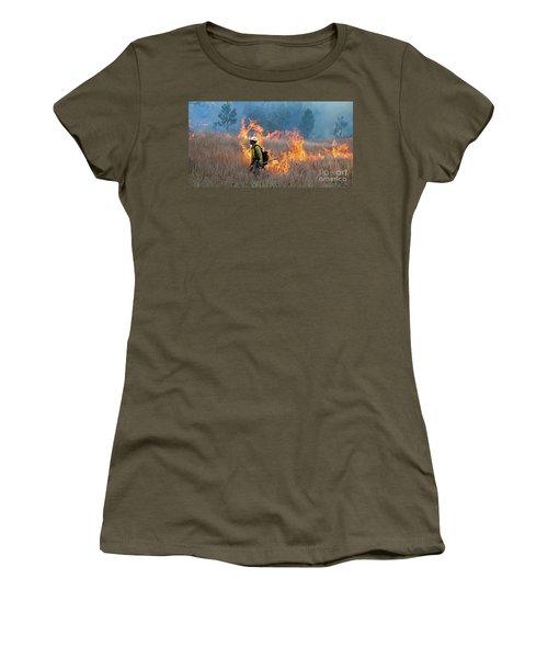 A Firefighter Ignites The Norbeck Prescribed Fire. Women's T-Shirt