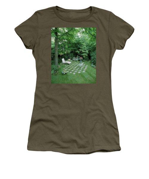 A Garden With Checkered Pavement Women's T-Shirt