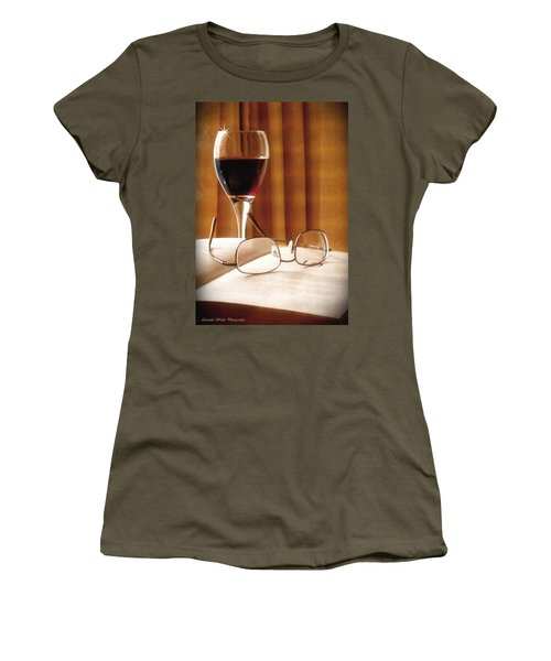 A Good Book And A Glass Of Wine Women's T-Shirt (Junior Cut) by Lucinda Walter
