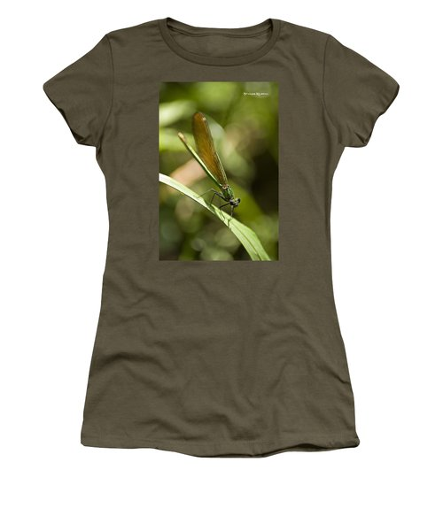 Women's T-Shirt featuring the photograph A Green Dragonfly by Stwayne Keubrick