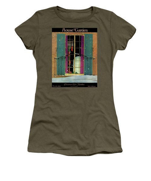 A House And Garden Cover Of A Christmas Women's T-Shirt