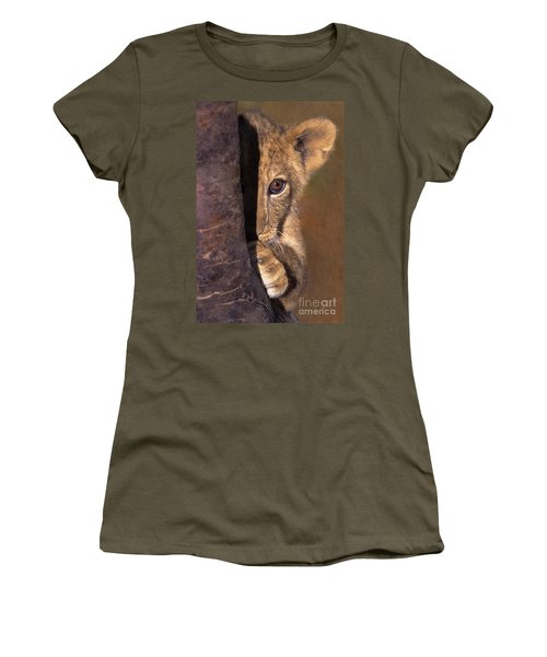 A Lion Cub Plays Hide And Seek Wildlife Rescue Women's T-Shirt (Athletic Fit)