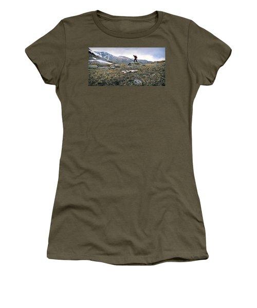 A Man Hikes Towards Mt. Neva 12,814 Ft Women's T-Shirt