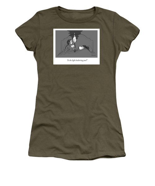 A Man Holds A Torch In Bed As His Reading Light Women's T-Shirt
