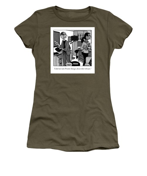 A Man Putting A Dvd In Its Cakse Speaks Women's T-Shirt