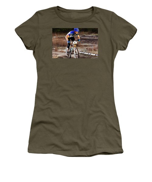 A Man Rides Aggressively Up A Muddy Women's T-Shirt