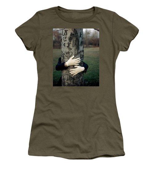 A Model Hugging A Tree Women's T-Shirt