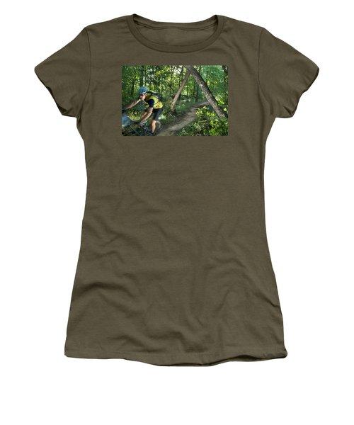 A Mountain Biker Speeds Down A Winding Women's T-Shirt