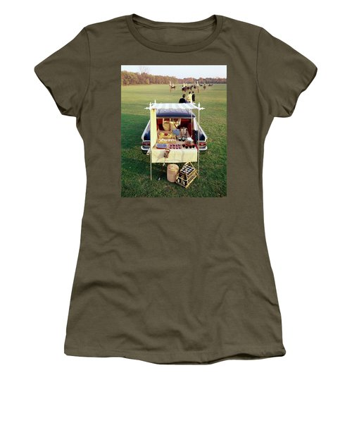 A Picnic Table Set Up On The Back Of A Car Women's T-Shirt