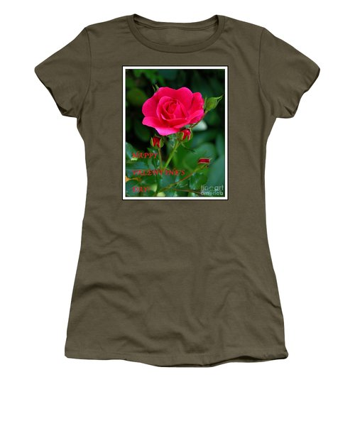 Women's T-Shirt (Junior Cut) featuring the photograph A Rose For Valentine's Day by Mariarosa Rockefeller