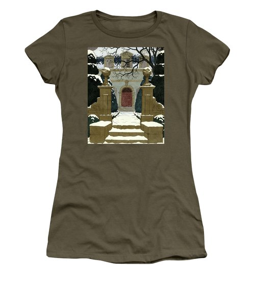 A Snow Covered Pathway Leading To A Mansion Women's T-Shirt