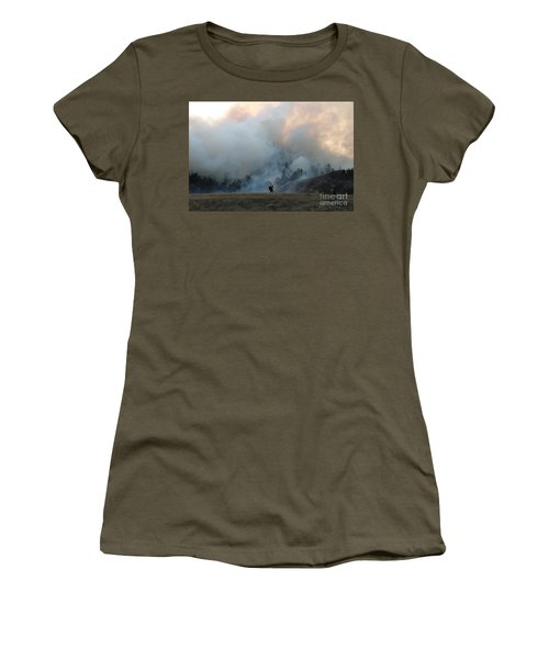 A Solitary Firefighter On The White Draw Fire Women's T-Shirt