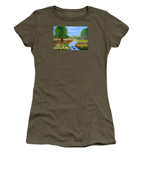 Women's T-Shirt (Junior Cut) featuring the painting A Spring Stream by Magdalena Frohnsdorff