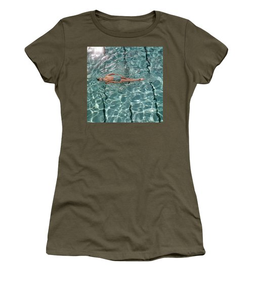 A Woman Swimming In A Pool Women's T-Shirt
