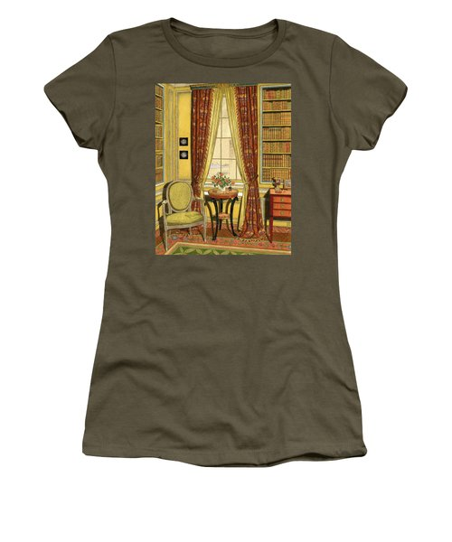 A Yellow Library With A Vase Of Flowers Women's T-Shirt