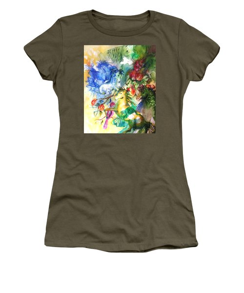 Abstract Horses Women's T-Shirt (Athletic Fit)