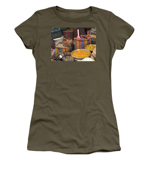 Women's T-Shirt (Junior Cut) featuring the photograph Acco Acre Israel Shuk Market Spices Stripes Bags by Paul Fearn