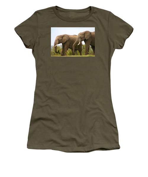 African Elephants Women's T-Shirt (Junior Cut) by Menachem Ganon