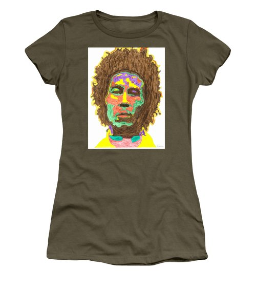 Women's T-Shirt (Junior Cut) featuring the painting Afro Bob Marley by Stormm Bradshaw