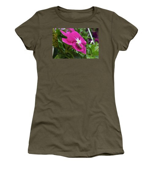 Women's T-Shirt (Junior Cut) featuring the photograph Ailanthus Webworm Moth Visiting My Garden by Verana Stark