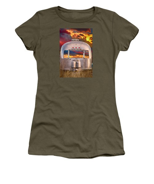 Airstream Travel Trailer Camping Sunset Window View Women's T-Shirt (Junior Cut) by James BO  Insogna
