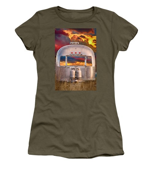 Airstream Travel Trailer Camping Sunset Window View Women's T-Shirt