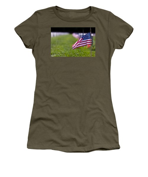 Women's T-Shirt (Junior Cut) featuring the photograph American Flag by Jerry Gammon