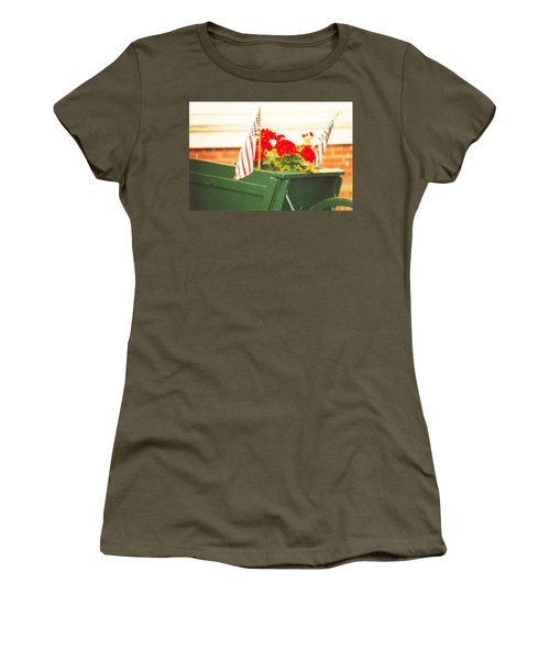 American Flags And Geraniums In A Wheelbarrow Two Women's T-Shirt (Junior Cut) by Marian Cates