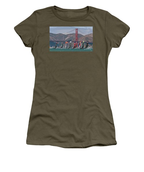 Women's T-Shirt featuring the photograph Americas Cup Catamarans At The Golden Gate by Kate Brown