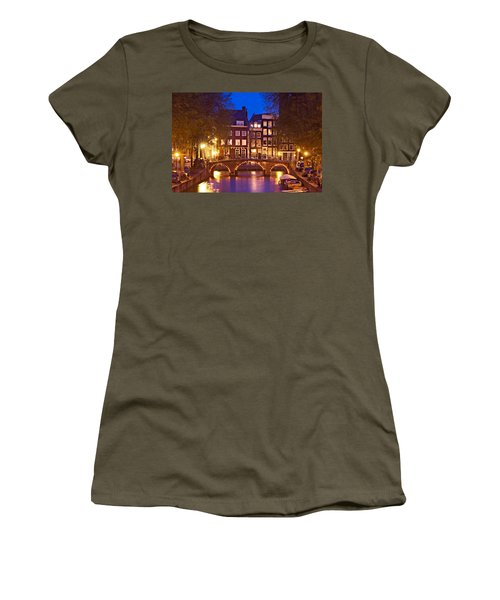 Women's T-Shirt featuring the photograph Amsterdam Bridge At Night by Barry O Carroll
