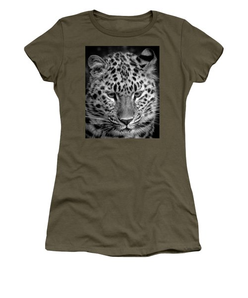 Amur Leopard In Black And White Women's T-Shirt
