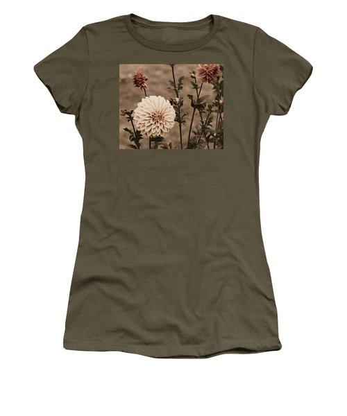 Antiqued Dahlias Women's T-Shirt (Junior Cut) by Jeanette C Landstrom